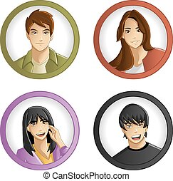 Teenagers - Group of cartoon young people Teenagers
