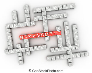 3d image Harassment issues concept word cloud background
