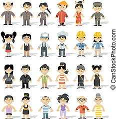 chinese happy cartoon people
