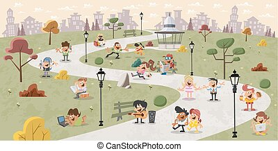 people in the park - Group of cute happy cartoon people in...