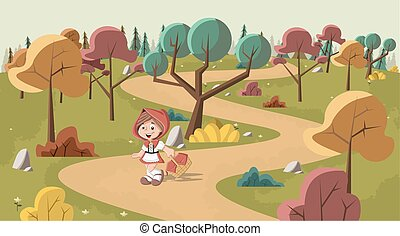 Cute cartoon little red riding hood