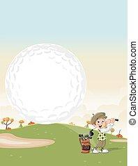 Cartoon golfer boy