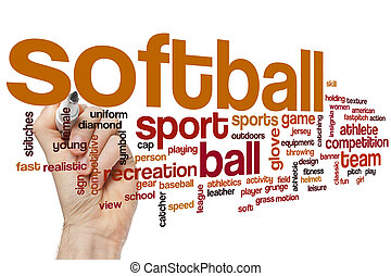 Softball word cloud concept with sport competition related...