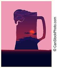 Beer mug illustration with sunset inside.