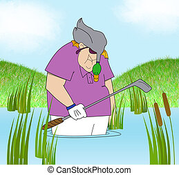 Funny Golfer in a Water Hazard With a Duck on His Head -...