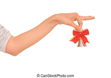 Handbell - Hand bell with red bow in the woman\'s hand