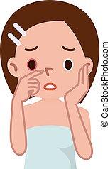 Sick womens eyes - Vector illustration