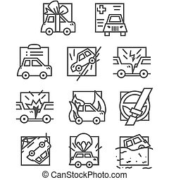 Simple line vector icons for car insurance