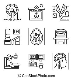Simple line vector icons for MRI elements