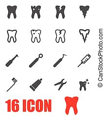 Vector grey dental icon set on white background