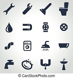 Vector black plumbing icon set on grey background