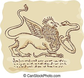 Griffin Fighting Snake Side Etching - Etching engraving...