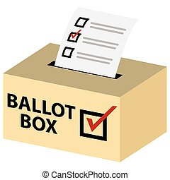 3d Ballot Box - An image of a 3d voting ballot box with red...