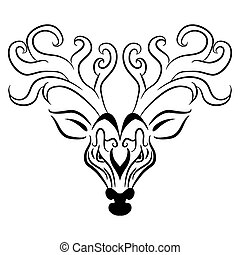 Deer Head Zentangle Style - An image of a reindeer head -...