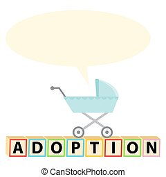 Child Adoption Icon - An image of a baby stroller with blank...