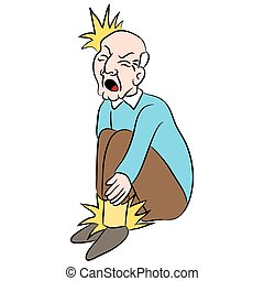 Male Senior Citizen with Foot Pain - An image of a cartoon...