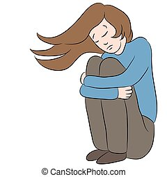 Depressed Sad Woman - An image of a cartoon female who is...