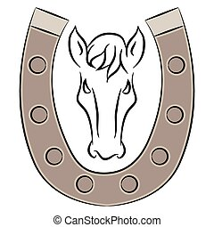 Horseshoe with Horse Icon