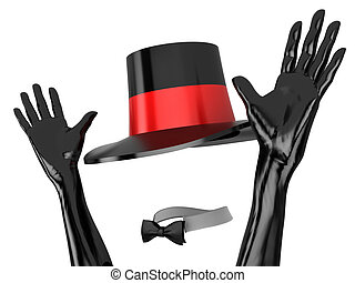 Clothes for cabaret - Women\'s hat and black gloves to...