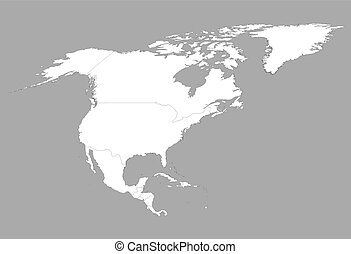 white map of North America