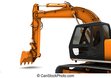 Digger - Orange dirty digger isolated on white background