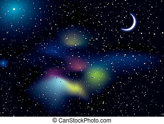 Space travel landscape - Illustrated space background with...