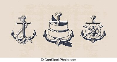 anchor collection - anchor set, hand drawn vintage...