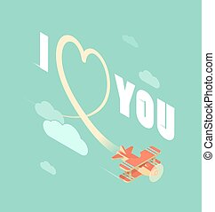 biplane with I love you - Biplane write heart in the sky,...