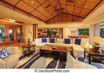 Living Room in Luxury Home - Beautiful Living Room in Luxury...