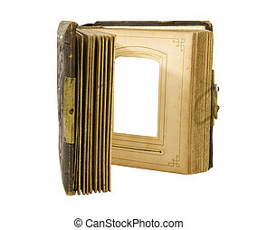 open antique photo album