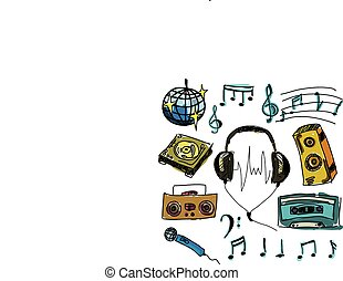 Colored musical stuff. Vector illustration