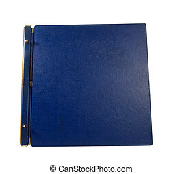 old large blue binder on a white background