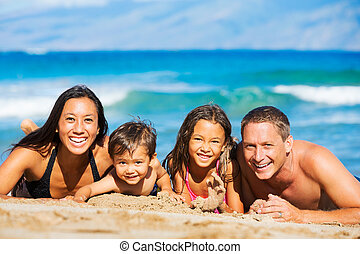 Happy Family Having Fun at the Beach - Young Happy Family...