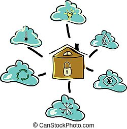 Drawn house with clouds. Vector illustration