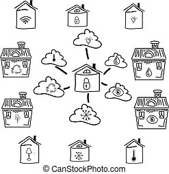 Drawn house with clouds and lock. Vector illustration