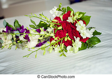 Flowers - Close up of a beautiful bridal flower bouquet on a...