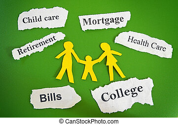 family budget concept - Paper cutout family with expense...