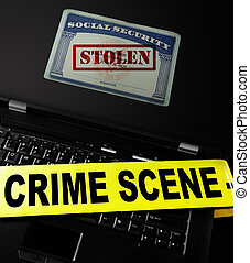Identity theft crime - Social Security card with Stolen...