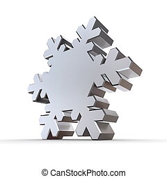 Shiny Silver Chrome Snowflake - shiny 3d snowflake made of...