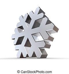 brillant, argent, chrome, flocon de neige