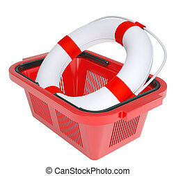Lifebuoy in shopping basket on isolated white background