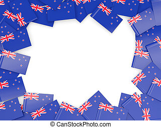 Frame with flag of new zealand isolated on white