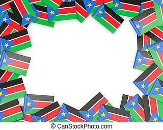 Frame with flag of south sudan isolated on white