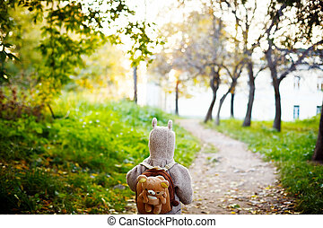 Little Kid in Funny Jacket Walking in the Park - Cute Little...