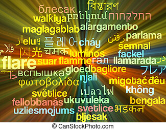 Flare multilanguage wordcloud background concept glowing -...