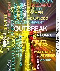 Outbreak multilanguage wordcloud background concept glowing...