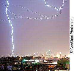 Thuderstorm Produces Lightning Bolt Strikes Calatrava Bridge...