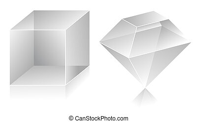 3D shape - Blank translucent 3d shapes design illustration