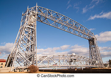 Aerial Lift Bridge Duluth Harbor Lake Superior Minnesota...