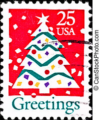 usa postage stamp shows christmas tree, circa 1980s - USA -...